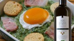 Crema di spinaci con uovo e pancetta